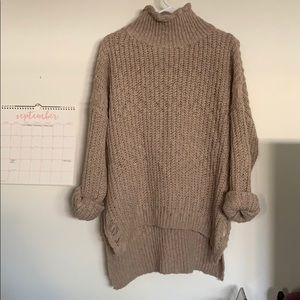 distressed chunky knit oversized hi low sweater